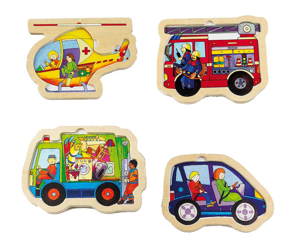 Feuerwehr, Helikopter, Müllwagen, Auto