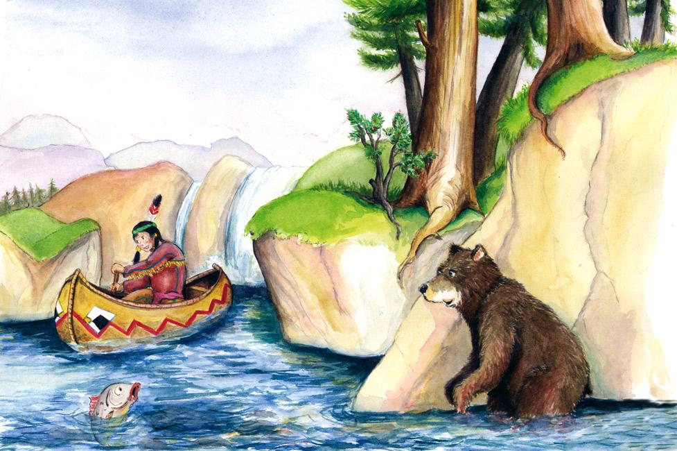 Indianer Kinderbuchillustration