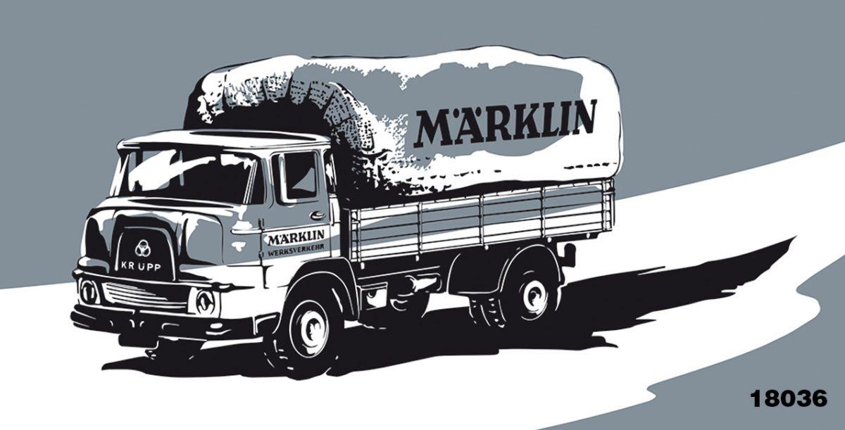 blatteins illustriert die Verpackung für den Artikel: Märklin 18036 Krupp Pritschen LKW